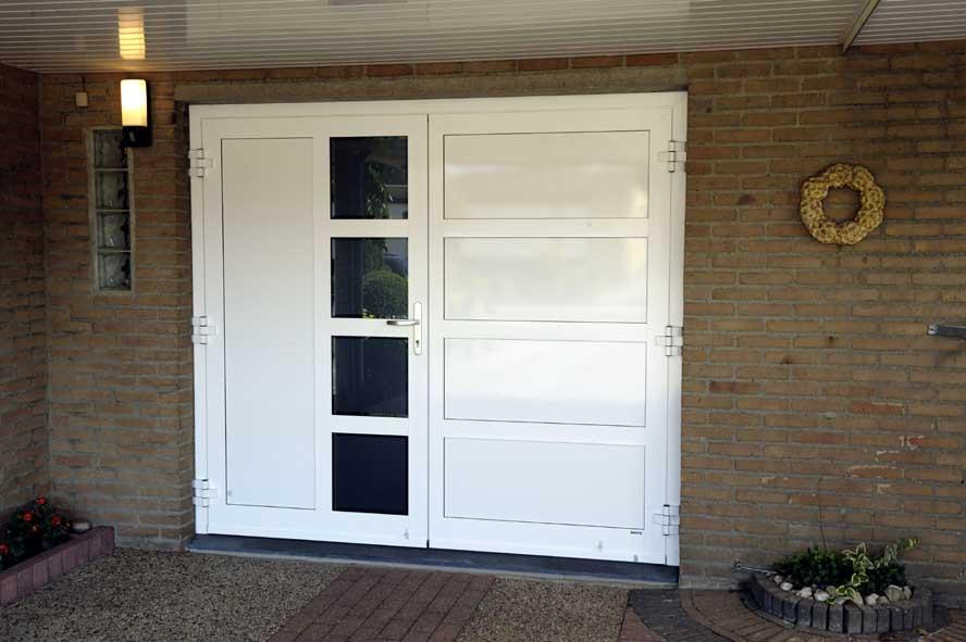 Renovatie, aluminium garagedeuren hefschuifpui overkapping zonwering, Helden (2)