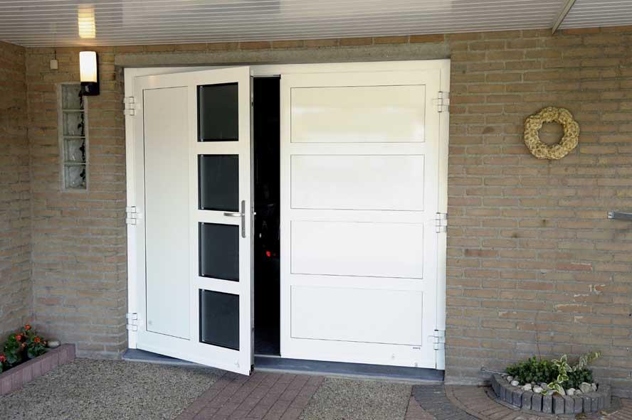 Renovatie, aluminium garagedeuren hefschuifpui overkapping zonwering, Helden (3)