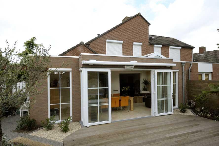 Renovatie, aluminium lichtstraat openslaande tuindeuren zonwering, Stevensweert (6)