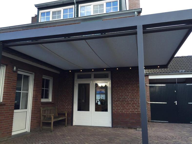 Renovatie, Quadro, modulaire overkapping, aluminium, serre zonwering, glazen schuifwanden, overkapping